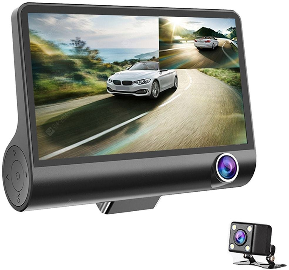 3 Lens WDR Dash Camera 4 Inch Display HD 1080P Car DVR Video Recorder 170 Degree Wide Angle with Water-resistant Rear Camera Sale, Price & Reviews | Gearbest
