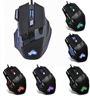 5500DPI LED Optical USB Wired Gaming Mouse 7 Buttons Gamer Computer Mice Black 4894376959842