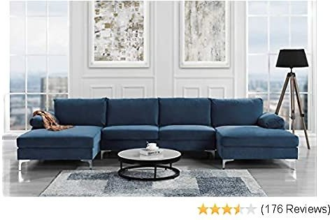Sofamania Modern Large Velvet Fabric U-Shape Sectional Sofa, Double Extra Wide Chaise Lounge Couch (Navy)