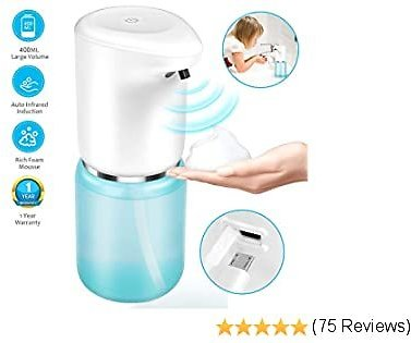 Automatic Soap Dispenser, Touchless USB Charging Auto Foaming Soap Dispenser, 400ML/14OZ Large Volume Hand Free Foaming Soap Dispenser for Kids,Adults,Bathroom & Kitchen