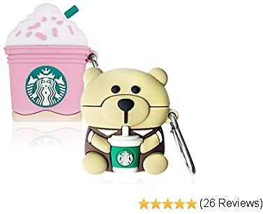 42% Off (2 Pack) Pink Coffee Ice Cream + Bear Cartoon Case Compatible with Airpods
