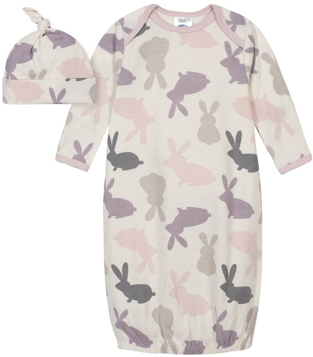 Gerber® 2-Piece Baby Girls Gown and Cap Set - Bunny