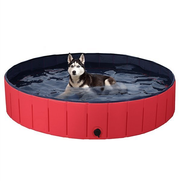 SmileMart Foldable Pet Swimming Pool Wash Tub for Dogs Cats, Red, X-Large, 55.1