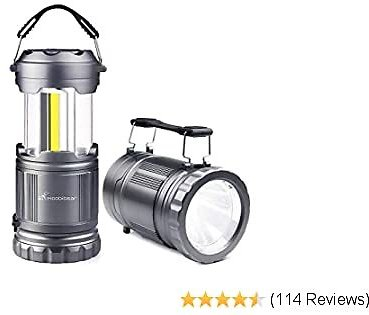 LED Camping Lantern Flashlight Combo - Moobibear 2 in 1 Battery Powered Emergency Light Portable Collapsible Camp Lamp for Camping Power Outage Hiking Indoor Outdoor 2 Pack