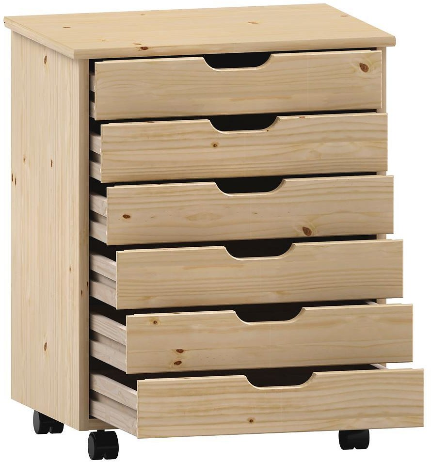 Linon Home Decor McLeod Natural 6-Drawer Wide Roll Cart-THD02092