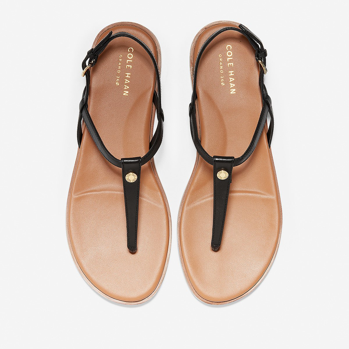 Women's Flora Thong Sandal in Black Leather