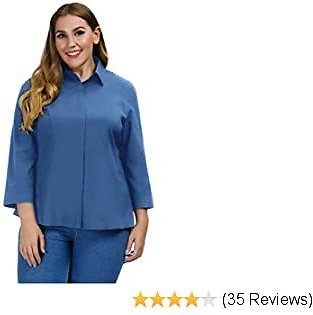 Plus Size 3/4 Cuff Sleeve Casual Button Down Shirt
