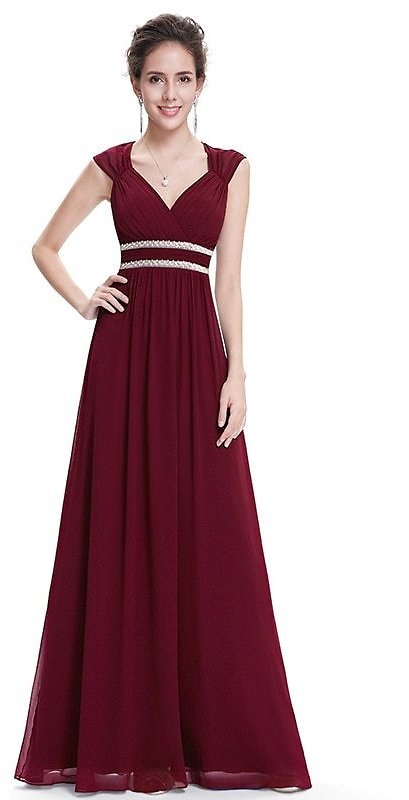 US $21.59 40% OFF|Plus Size Elegant V Neck Long Evening Dress EB27968 2020 Cheap Chiffon Party Gowns Ruched Beading Empire Hollow Out Formal Dress|Evening Dresses| - AliExpress
