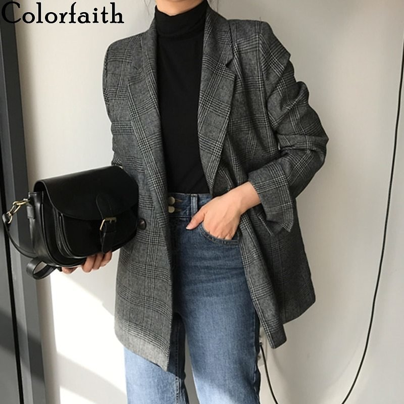 US $18.91 57% OFF|Colorfaith New 2019 Autumn Winter Women's Blazers Plaid Double Breasted Pockets Formal Jackets Notched Outerwear Tops JK7113|Blazers| - AliExpress