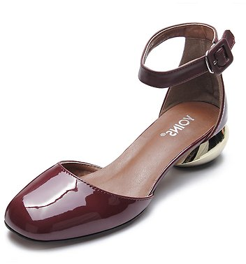 Burgundy Ankle Strap Patent Leather Heels - US$15.99 -YOINS
