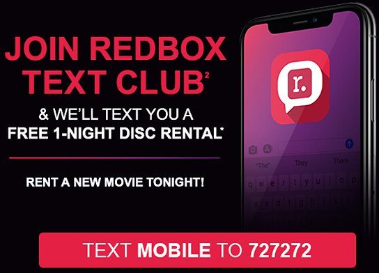 Free 1-night Disc Rental By Joining Text Club!