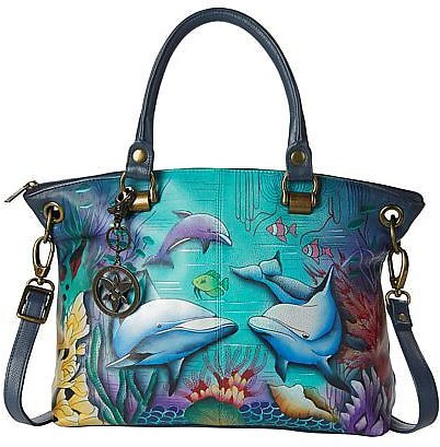 Anuschka Hand Painted Leather Large Satchel - 9250406 | HSN