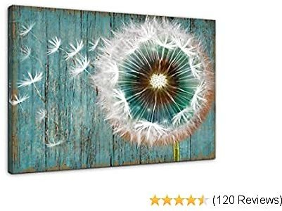 Dandelion Canvas Wall Art for Rustic Home Decor White Dandelion Green Driftwood Theme Country Wall Decor for Bathroom Bedroom Modern Canvas Prints Artwork for Farmhouse Kitchen Wall Decoration 12x16