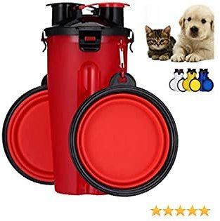 Portable Pet Dog Water Bottle with 2 Bowls