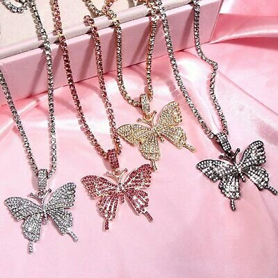 Women Big Butterfly Necklace Pendant Clavicle Choker Crystal Chain Jewelry Gifts