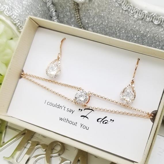 ROSE GOLD Teardrop Design with Round Shape Crystal Earrings and Bracelet SET, Bridesmaid Jewelry Message Gift Box