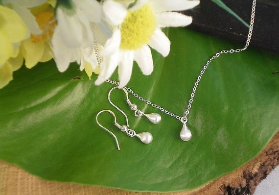 SET Minimalist Sterling Silver Tiny Teardrop Necklace and Earring Set, All Sterling Silver