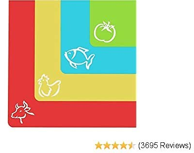 Extra Thick Flexible Plastic Cutting Board Mats with Food Icons & EZ-Grip Waffle Back, (Set of 4) - Textured Waffle Grip Bottom Prevents Slipping On Most Counter Tops - Prevents Cross Contamination