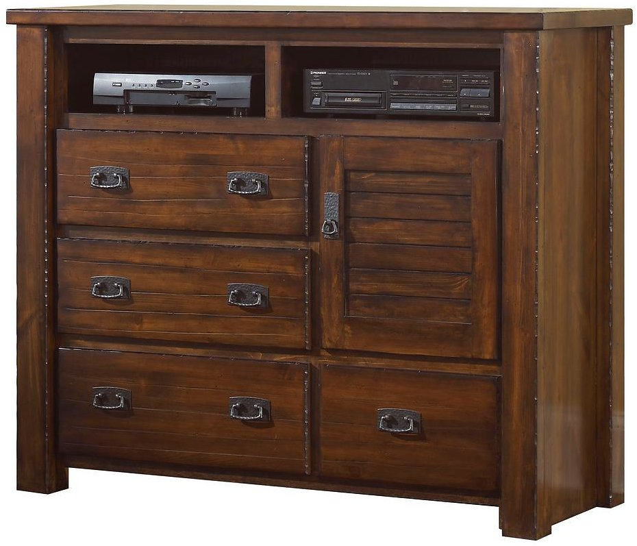 Progressive Furniture Trestlewood 4-Drawer Mesquite Pine Media Chest of Drawers-P611-46
