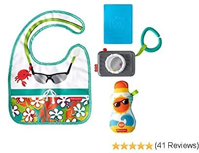 Fisher-Price Tiny Tourist Gift Set, 4 Travel-themed Baby Toys for Take-along Play