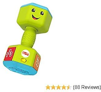 Fisher-Price Laugh & Learn Countin' Reps Dumbbell Rattle Toy with Music, Lights and Learning Content for Baby and Toddler Ages 6-36 Months, GJW57