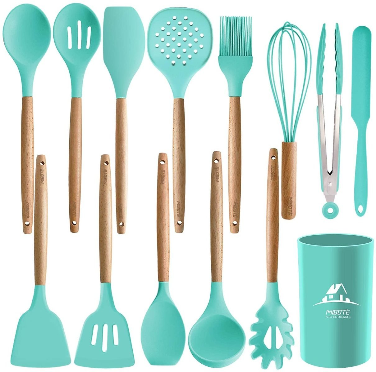 14PCS Silicone Cooking Kitchen Utensils Set with Holder