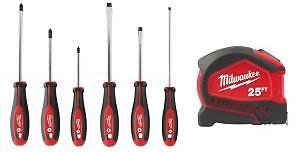 Milwaukee Screwdriver Set (6-Piece) W/ 25 Ft. Compact Auto Lock Tape Measure