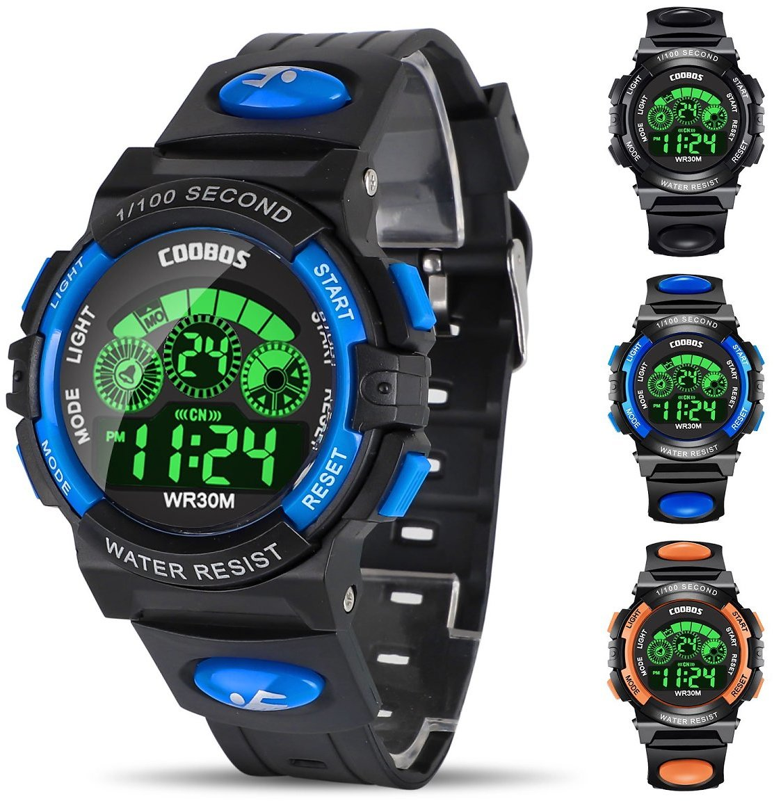 Kids Digital Watch, Boys Sports Waterproof Led Watches with Alarm, Stopwatch, Multifunctional Outdoor Electronic Analog Quartz W