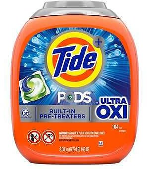 Tide Pods with Ultra Oxi HE Laundry Detergent Pods, 104-count + F/S