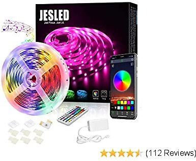 JESLED Bluetooth LED Strip Lights for Bedroom, 16.4 Ft 5050 RGB LED Light Strip with RF Remote, Sync to Music, Color Changing Rope Lights for TV, Party, Home Decoration