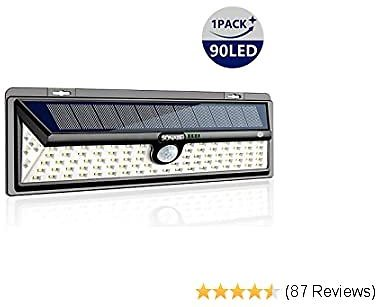 Solar Lights Outdoor, SONATA Motion Sensor Light with 270° Wide Angle, Upgraded 90 LED 3 Optional Modes Solar Security Wall Lights for Garden, Front Door, Yard, Garage (1Pack)
