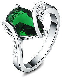Silver 925 Fashion Cute Nice Green Lady Women Crystal Stone Color Rings Jewelry