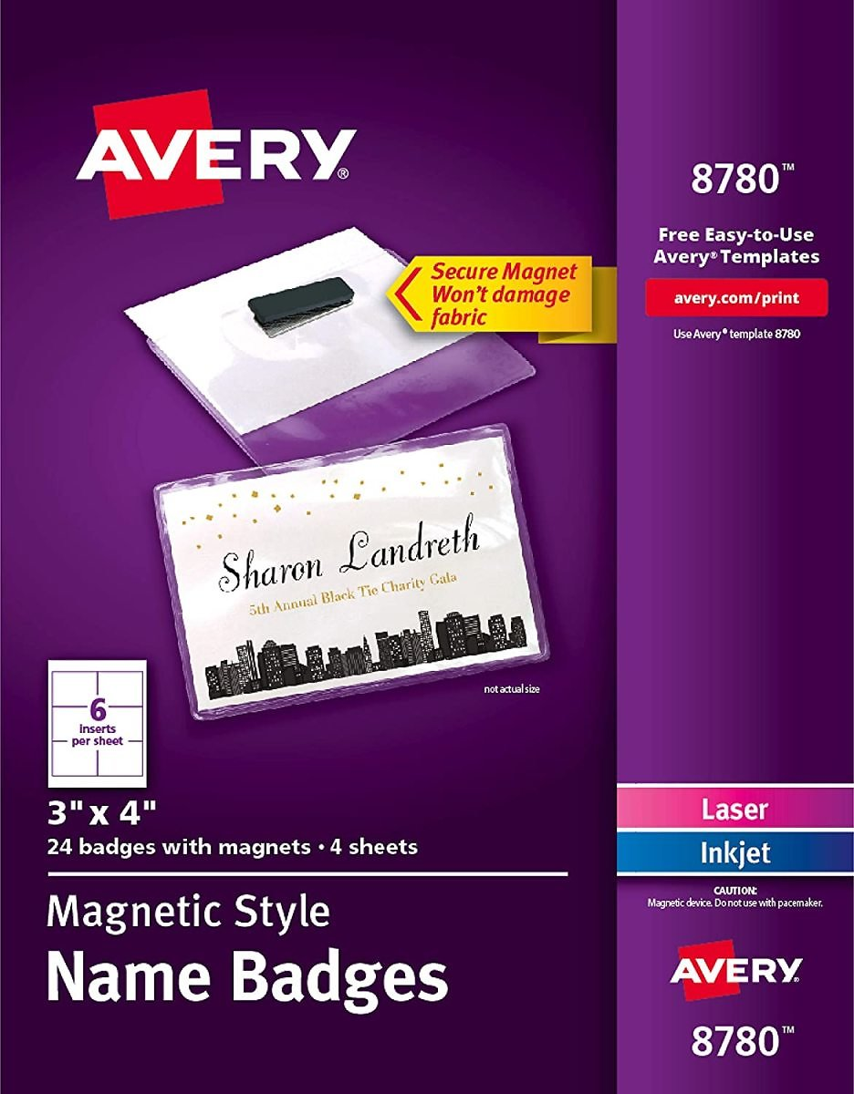 24Ct. Avery Secure Magnetic Name Badges, Durable Plastic Holders, Heavy-Duty Magnets