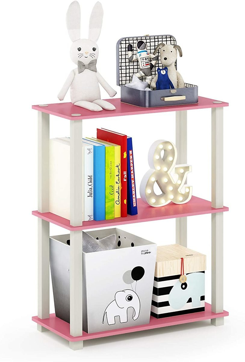 Furinno Turn-S-Tube 3-Tier Compact Multipurpose Shelf Display Rack, Square, Pink/White