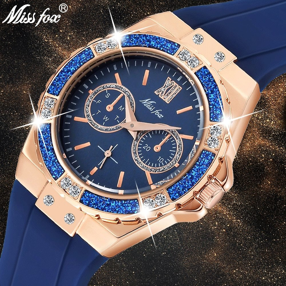 US $16.66 90% OFF|MISSFOX Women's Watches Chronograph Rose Gold Sport Watch Ladies Diamond Blue Rubber Band Xfcs Analog Female Quartz Wristwatch|Women's Watches| - AliExpress