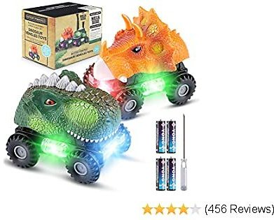 Magicfun 2 Pack Dinosaur Cars, Fun Dinosaur Toys with Cool Light & Sound Effect for Boy and Girls 3 Years Old & Up, Ideal Birthday Christmas Dino Toy Gift(Green/Orange)