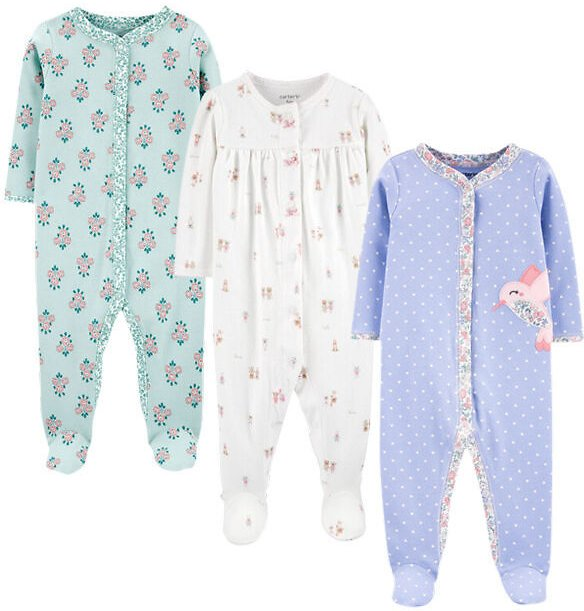3-Pack Snap-Up Cotton Sleep & Plays