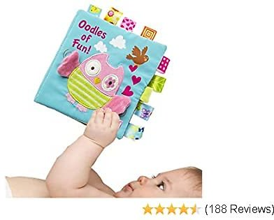 Infant Book for Baby Boys Girls Touch and Feel, Soft Cloth Owl Crinkle Sensory Preschool Toddlers Toys, 2020 Loveys Shower Gift for Babies, All Ages, Developmental Toy, Machine Washable (Updated)