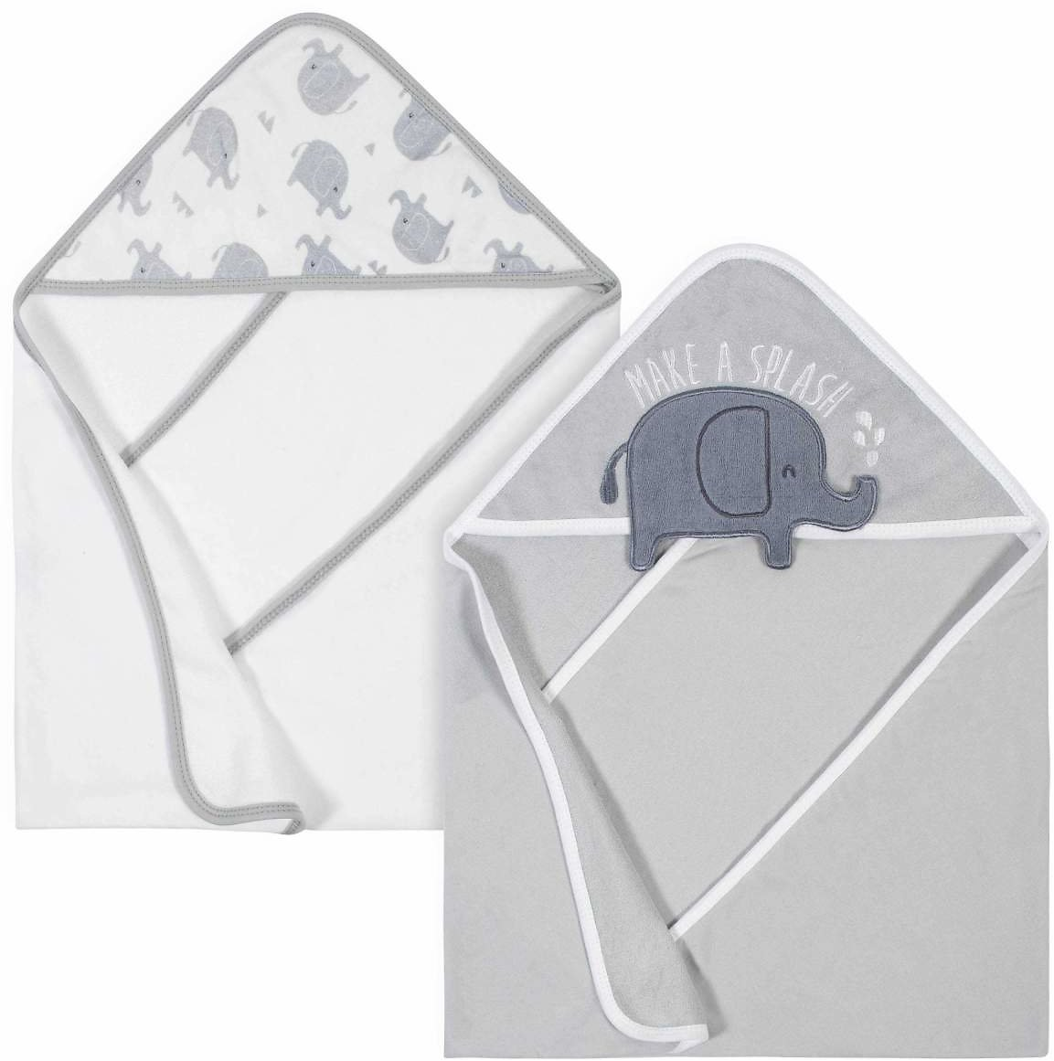2-Pack Baby Boys' Elephant Terry Hooded Towels