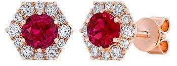Ruby and Diamond 14kt Rose Gold Earrings