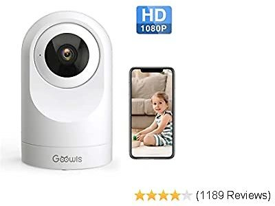 Security Camera Indoor, Goowls 1080P HD Pan/Tilt 2.4GHz WiFi Home Camera Dog Camera Wireless IP Camera for Baby/Pet/Nanny Monitor Night Vision Motion Detection Two-Way Audio Works with Alexa