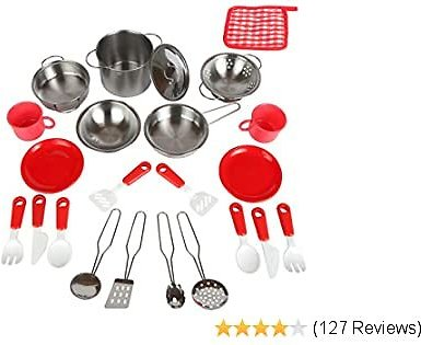 Mommy Please Play Kitchen Accessories for Pretend Food - Great Toys for Toddlers and Kids Include Stainless Steel Pots and Pans Set - Plus Bonus Dishes for Girls and Boys