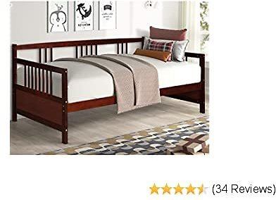 Giantex Wooden Daybed Frame Twin Size, Full Wooden Slats Support, Dual-use Sturdy Sofa Bed for Bedroom Living Room (Espresso)