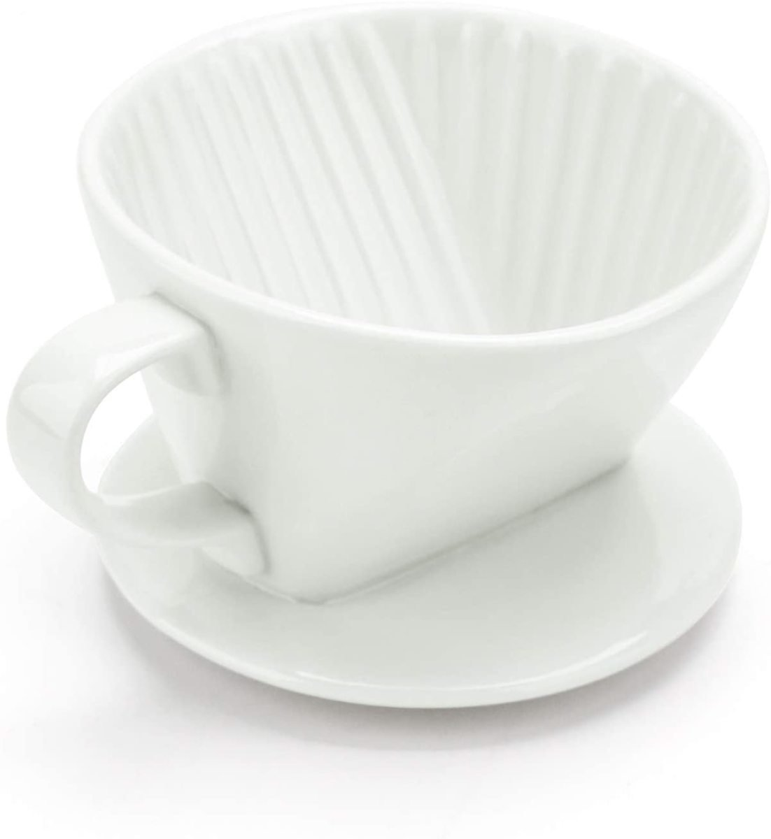 Coffee Pour Over Ceramic, Segarty #2 Coffee Filter Cup with 3 Holes At Flat Bottom, Brewing Coffee Dripper, Home & Office Used, Easy to Clean, Gift for Coffee Enthusiast & At-home Baristas, White