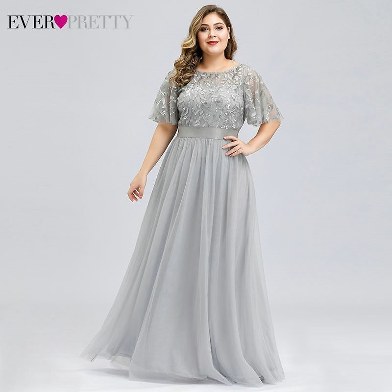 US $27.41 48% OFF Plus Size Sequined Evening Dresses Long Ever Pretty A Line O Neck Tulle Elegant Formal Evening Gowns Vestido Noche Elegante 2020 Evening Dresses  - AliExpress