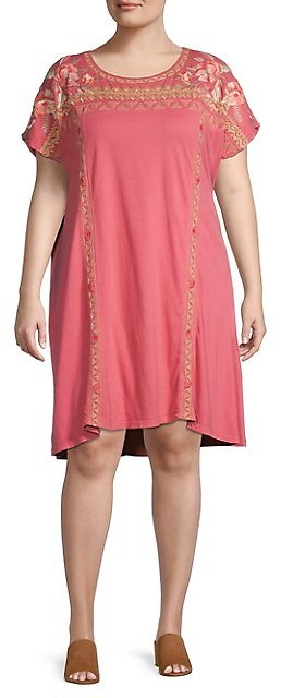 Johnny Was Plus Rianne Floral Embroidered Shift Dress On SALE | Saks OFF 5TH