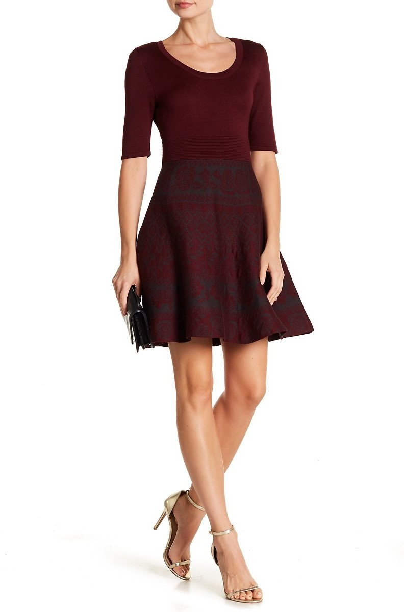 Nina Leonard | Scoop Neck Fit & Flare Knit Dress | Nordstrom Rack