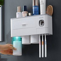 New Magnetic Adsorption Toothbrush Holder Automatic Toothpaste Dispenser Toiletries Storage Rack Bathroom Accessories | Wish