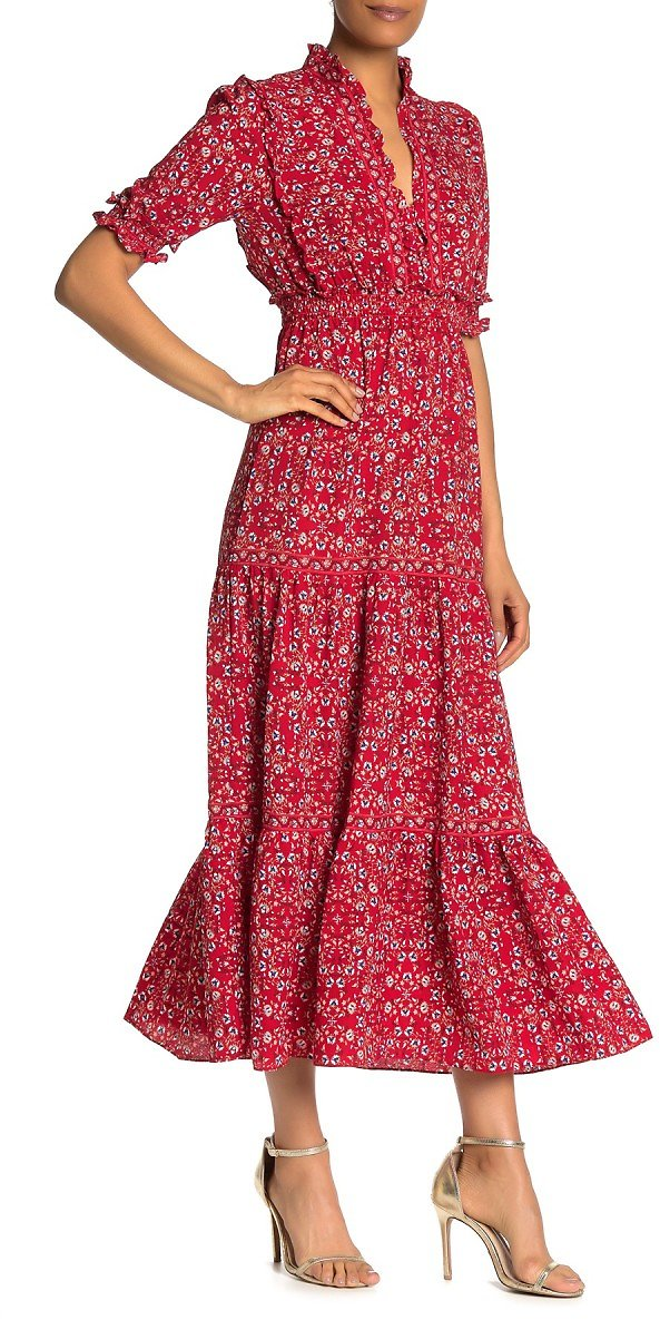Max Studio | Elbow Length Sleeve Print Tiered Maxi Dress | Nordstrom Rack