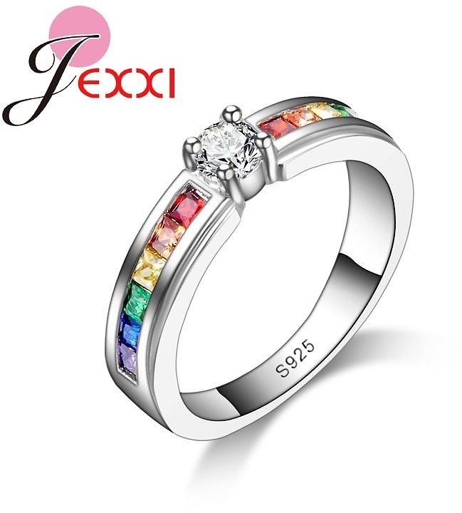 US $43.15 |Real 925 Sterling Silver Various Colors Round Colorized Crystal Women Wedding Rings CZ Fashion Jewelry Ladies Accessories| | - AliExpress